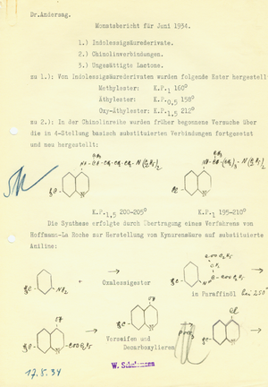 Hans Andersag -  Protocol for the synthesis of Resochin, Hans Andersag 1934