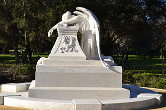 Angel of Grief - Henry Lathrop monument, profile view, at Stanford University