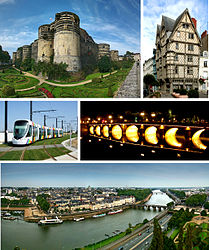 Top left: Angers Castle, Top right Maison d'Adam, Middle left: View of vehicle of Anger tramway, Middle right: View of Verdun Bridge in night, Bottom: View of Maine River, Verdun Bridge and downtown area from Angers Castle