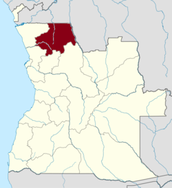 Map of Angola with the Uige province highlighted
