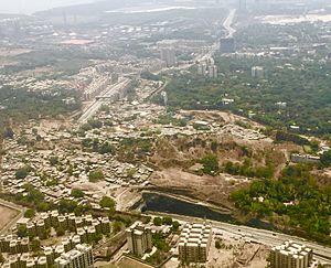 Eastern Freeway (Mumbai) - Aerial view of the Anik Panjarpol road