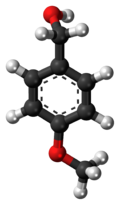 Ball-and-stick model of the anisyl alcohol molecule