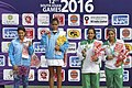 Ankita Raina (INDIA) won Gold Medal, Prerna Bhambri (INDIA) won Silver Medal and Suhna Suhail (PAK) & Sara Mansoor (PAK) won Bronze Medals in a Women's Singles Tennis match, at the 12th South Asian Games-2016, in Guwahati.jpg