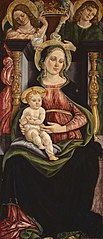 Virgin and Child Enthroned with Two Angels Holding a Crown