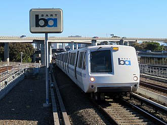 Bay Area Rapid Transit - A BART train approaching MacArthur station in June 2018
