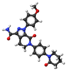 Apixaban ball-and-stick model.png