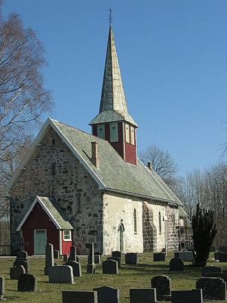Øyestad - View of the historic Øyestad Church