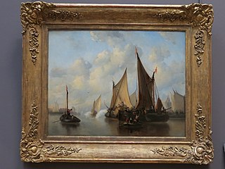 Arrivée de hauts personnages dans un port hollandais du XVIIe siècle