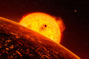 Lava planet - Artist's impression of COROT-7b, likely a lava exoplanet.