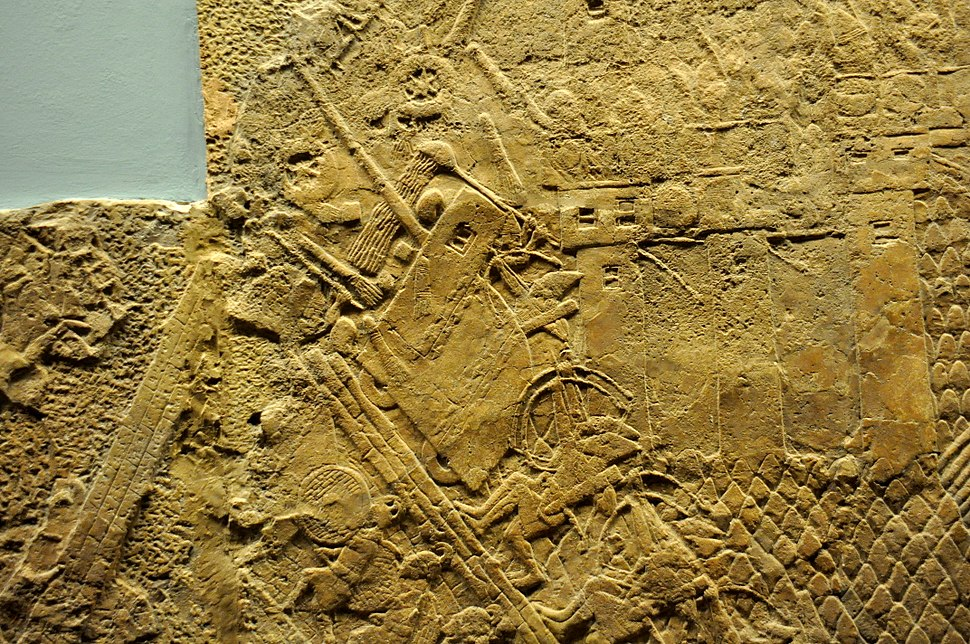 Assyrian siege-engine attacking the city wall of Lachish, part of the ascending assaulting wave. Detail of a wall relief dating back to the reign of Sennacherib, 700-692 BCE. From Nineveh, Iraq, currently housed in the British Museum