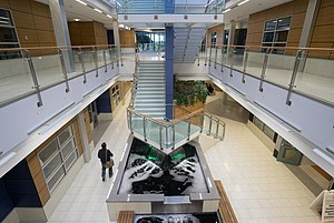 New England Institute of Technology - Atrium and waterfalls in the East Greenwich campus.