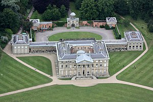 Attingham Park - Attingham Hall from the air.