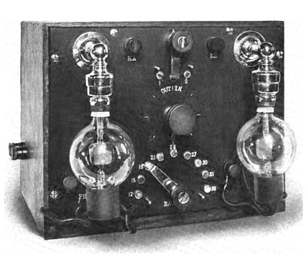 "One of the earliest Audion radio receivers, constructed by De Forest in 1914. Audion tubes were mounted upside down, with the delicate filament hanging down, to prevent it from sagging and touching the grid. This was a detector (rectifier) and two stage audio amplifier unit; the radio signal came from a separate ""tuner"" unit. Audion receiver.jpg"