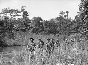 2/31st Battalion (Australia) - A patrol from the 2/31st Battalion passing along the Brown River in Papua during October 1942