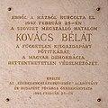 Béla Kovács plaque Bp05 Váci54.jpg