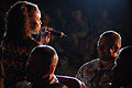 BALAD AIR BASE, Iraq -- Tops In Blue vocalist Senior Airman Wallis Payano sings to Senior Airman Todd Lawrence during a performance here April 28 070428-F-MQ656-317.jpg