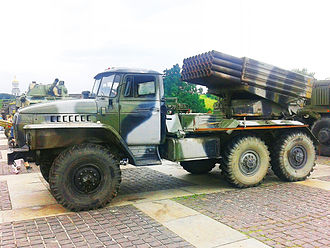 "58th Combined Arms Army - BM-21 ""27777"" launch vehicle at display in Kiev 2014."