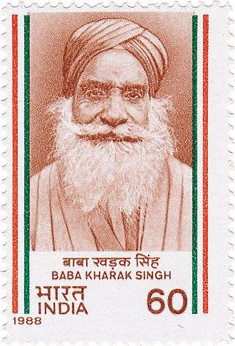 Baba Kharak Singh - Baba Kharak Singh on a 1988 stamp of India