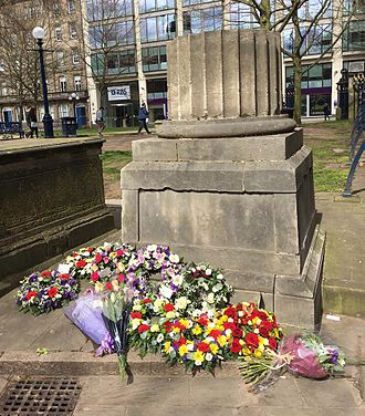 Birmingham Town Hall - The memorial to Badger and Heap in St. Phillip's Cathedral churchyard, now used every year on International Workers' Day as a memorial to all who have been killed in workplace accidents.