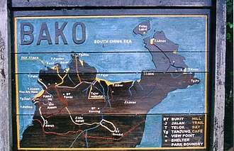 Bako National Park - Bako National Park trail map at park headquarters.
