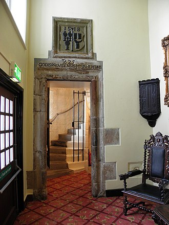 """Ulster Scots dialects - Middle Scots inscription """"Godis Providens Is My Inheritans"""" over the main entrance door leading to the tower in Ballygally Castle"""
