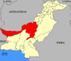 Map of Pakistan with بلوچستان ریاستی اتحاد highlighted