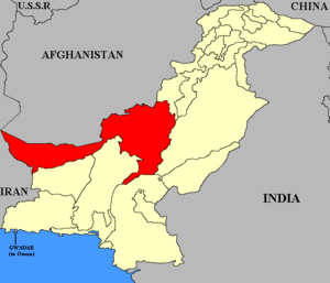 Baluchistan (Chief Commissioner's Province) - Map of Pakistan with Baluchistan (CCP) highlighted