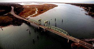 Bandon, Oregon - Aerial view of Bullards Bridge