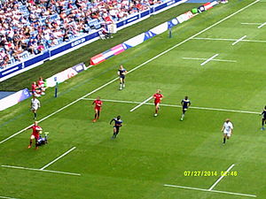 Barbados national rugby sevens team - Barbados (blue) playing Canada (red) at the 2014 Commonwealth Games