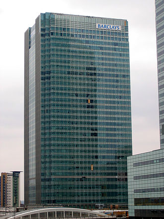 Capital market - One Churchill Place, Barclays headquarters in Canary Wharf, London. Barclays is a major player in the world's primary and secondary bond markets.