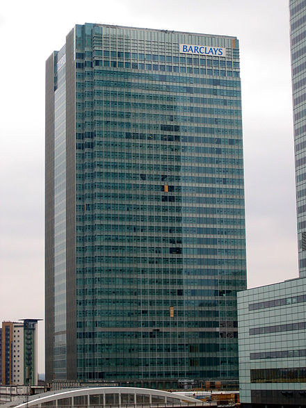 One Churchill Place, Barclays headquarters in Canary Wharf, London. Barclays is a major player in the world's primary and secondary bond markets. Barclays HQ.jpg