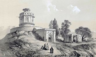 Gunpowder magazine - Drawing of Barout khaneh, the Gunpowder Magazine of Tehran, by Eugène Flandin, 1840. It is the only trace remained from this lost building.