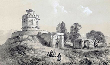 1840 drawing of a gunpowder magazine near Tehran, Persia. Gunpowder was extensively used in the Naderian Wars. Barout khaneh near Tehran by Eugene Flandin.jpg
