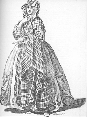 Earasaid - Town lady in a waist-width plaid with a chequered midsection and striped ends. Engraving by James Basire, 1745