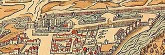 Bastille - A depiction of the Bastille and neighbouring Paris in 1575, showing the new bastions, the new Porte Saint-Antoine, the Arsenal complex and the open countryside beyond the city defences