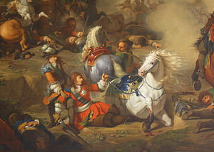 2nd Dragoon Regiment (France) - A painting by Bénigne Gagneraux depicting Henri Jules, Duke of Enghien saving his father, the Grand Condé, at the Battle of Seneffe (1674)—a victory in which the Condé-Cavalerie were crucial, and which brought Condé back into royal favour
