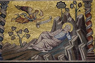 "Saint Joseph's dreams - The second dream, as shown by the text on the angel's banderole: ""Flee to Egypt"", 13th-century mosaic, Florence Baptistry"