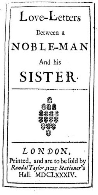 Love-Letters Between a Nobleman and His Sister - Titlepage of the first edition of the first volume