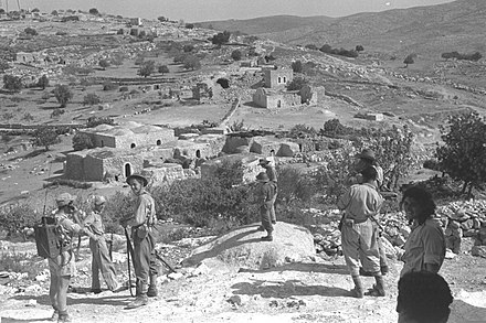 IDF forces near Bayt Nattif (near Hebron) after it was captured. Oct 1948. Beit Natif 1948.jpg