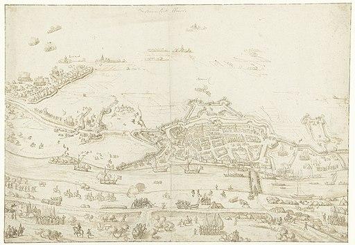 Beleg van Zaltbommel, 1599 de Bommeler Waart (titel op object), RP-T-1889-A-1919