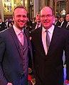 Benedikt Poelchau und Prince Albert II. of Monaco, Monte Carlo, 2018.jpg
