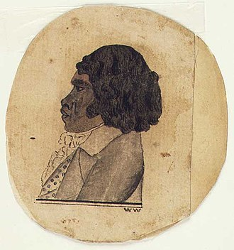 "Five Dock, New South Wales - Portrait (signed ""W.W."") thought to depict Bennelong"