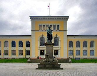 University Museum of Bergen -  Museum plaza with the statue of Wilhelm Frimann Koren Christie,  founder of the University Museum of Bergen