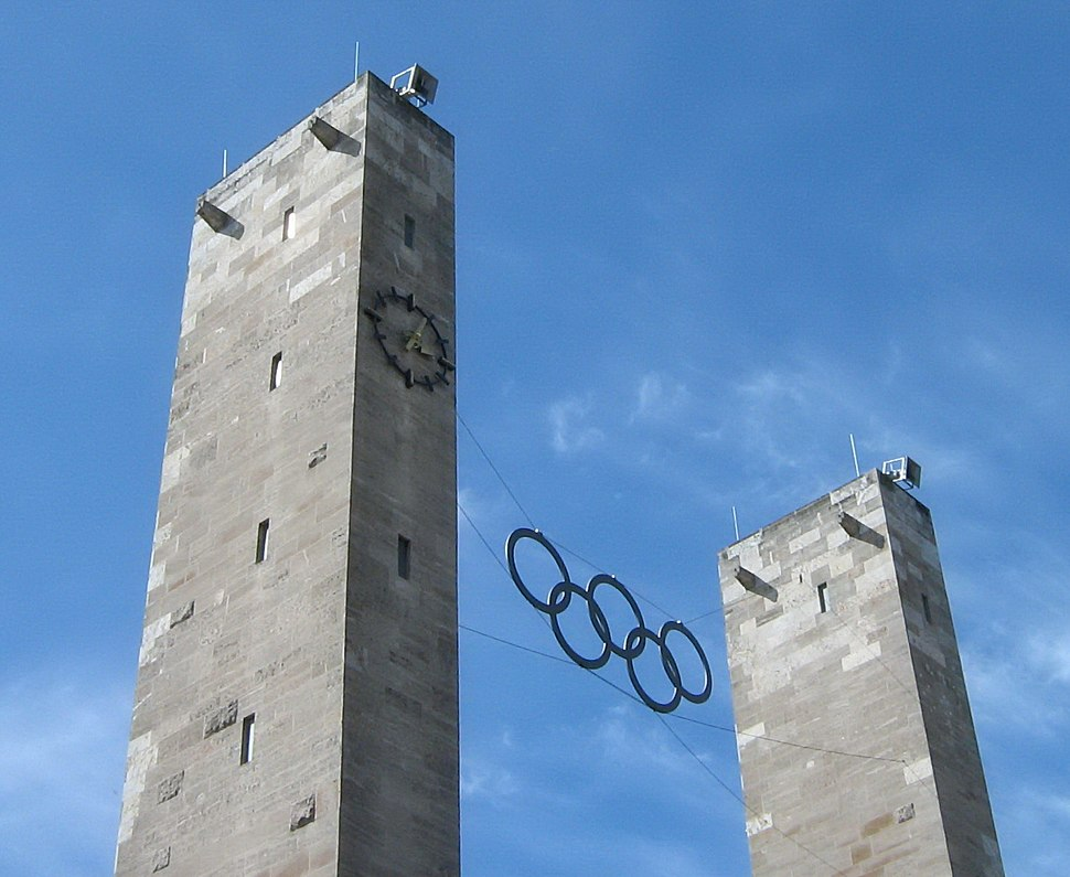 Berlin Olympiastadion Main Entrance Olympic Rings from 1936 taken 20070421