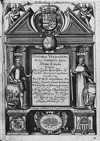 Bernal Díaz del Castillo - Title page, Historia verdadera, 1632