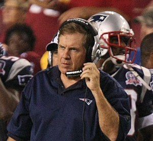 Bill Belichick - Belichick during an August 28, 2009 preseason game against the Washington Redskins