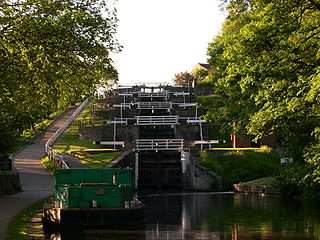 Bingley Five Rise Locks staircase lock on the Leeds and Liverpool Canal at Bingley