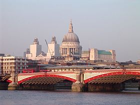Blackfriars Bridge, River Thames, London, with St Pauls Cathedral.jpg
