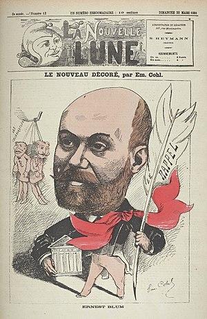 Ernest Blum - Caricature of Ernest Blum by Émile Cohl (La Nouvelle Lune, 20 March 1881