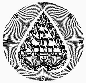 Tetractys - Symbol by early 17th-century Christian mystic Jakob Böhme, including a tetractys of flaming Hebrew letters of the Tetragrammaton.